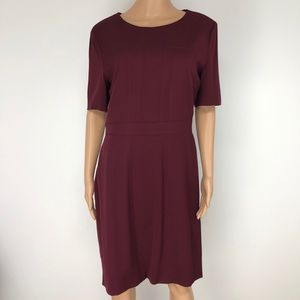 Hugo Boss Merlot Color Virgin Wool Sheath Dress